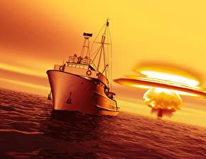 Bilder Meer Morgendämmerung und Sonnenuntergang Explosion Schiffe 3D-Grafik