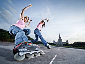 Wallpapers Sky Roller skates Two Jeans Legs Bottom view young woman