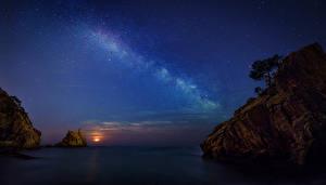 Hintergrundbilder Spanien Meer Himmel Stern Nacht Felsen Girona Natur