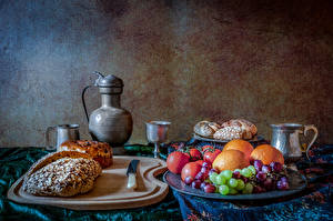Photo Still-life Bread Fruit Jug container Cutting board Food