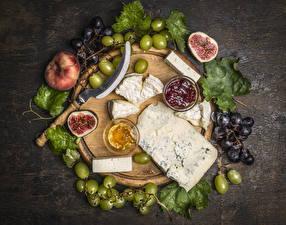 Bilder Stillleben Echte Feige Käse Weintraube Konfitüre Schneidebrett