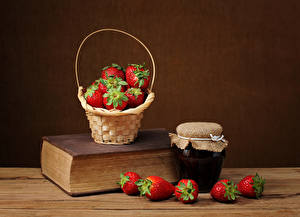 Wallpaper Strawberry Varenye Still-life Book Wicker basket Jar Food