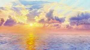 Bilder Sonnenaufgänge und Sonnenuntergänge Meer Gezeichnet Wolke Blitz Natur