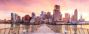 Bilder Vereinigte Staaten Haus Flusse Brücken San Francisco Zaun Städte