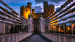 Pictures United Kingdom Castles Bridge Evening Fence Wales Deganwy Castle Cities