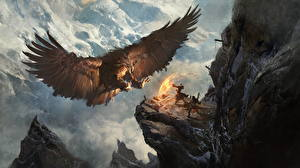 Image Warrior Magic Eagles Mountains Magical animals Wings Fantasy