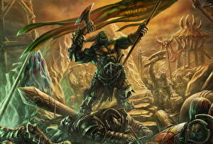 Pictures Warriors Orc Battle axes Standard Bearer Legionnaire Fantasy