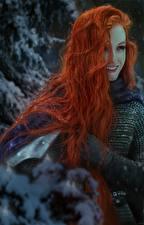 Wallpaper Warrior Redhead girl Hair Smile Fantasy Girls