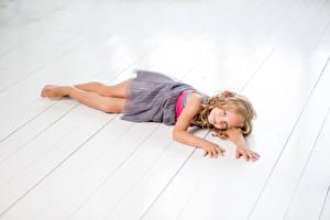 Photo Wood planks Little girls Modelling Dress Lovely Children