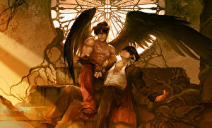 Image Angels Tekken Young man 2 Wings Sitting Fanart Jin Kazama, Devil Jin Games Fantasy