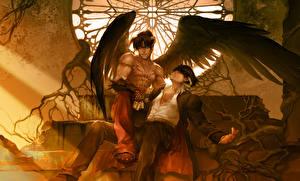 Image Angels Tekken Young man 2 Wings Sitting Fanart Jin Kazama, Devil Jin Games Fantasy