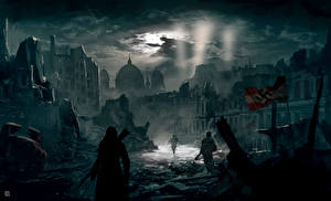 Bilder Assassin's Creed Ruinen Nacht Berlin Spiele