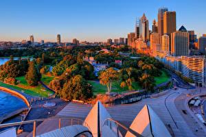 Fotos Australien Gebäude Park Wege Sydney Bäume Royal Botanical Gardens Städte