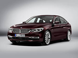 Pictures BMW Gray background Dark red 2017 630d xDrive Gran Turismo Luxury Line Cars