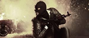Wallpapers Battlefield Hardline Man Masks Assault rifle AK Games