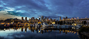 Pictures Canada Houses Marinas Yacht Evening Bridges Speedboat Vancouver Bay Cities
