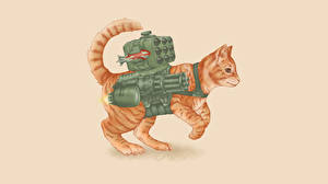 Wallpapers Cat Painting Art Machine guns Missile launchers Colored background Animals
