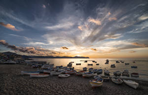 Wallpaper Coast Boats Sunrise and sunset Sky Clouds Nature