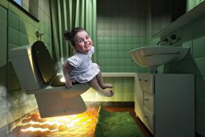 Fotos Kreativ Komische Kleine Mädchen WC Kinder