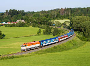 Picture Czech Republic Railroads Trains Meadow Nature
