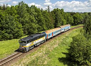 Images Czech Republic Railroads Trains Locomotive Nature
