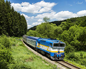 Image Czech Republic Railroads Trains Trees Nature