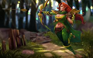 Images DOTA 2 Archers Windrunner Bow weapon Redhead girl Games Girls Fantasy