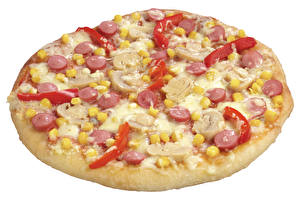 Photo Fast food Pizza Closeup White background Food