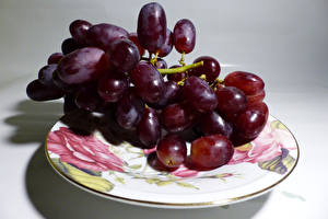 Picture Grapes Closeup Plate Food