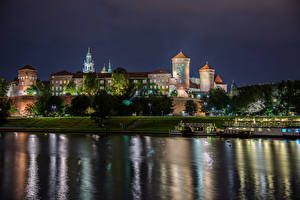 Wallpaper Krakow Poland River Building Pier Night Cities