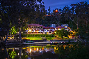Picture Melbourne Australia Houses Berth Night time Trees Cities