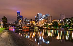 Pictures Melbourne Australia Building Rivers Bridge Night Canal Cities
