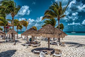 Hintergrundbilder Mexiko Himmel Resort Strand Palmen Sonnenliege Cancun Quintana Roo Natur