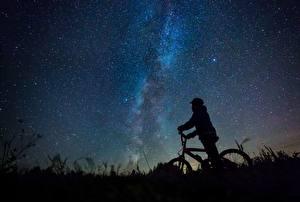 Fotos Milchstraße Himmel Stern Fahrrad Silhouetten Nacht