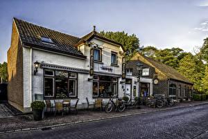 Wallpaper Netherlands Building Street Bike Street lights Arcen Limburg Cities