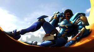 Pictures Overwatch Armor Fanart Pharah Fareeha Amari Games Fantasy Girls