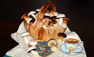 Hintergrundbilder Backware Pilze Kaffee Weidenkorb Tasse das Essen