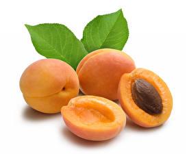 Hintergrundbilder Pfirsiche Großansicht Weißer hintergrund Blattwerk Lebensmittel