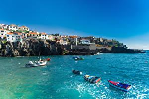 Bilder Portugal Gebäude Meer Boot Küste Felsen Madeira Städte