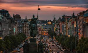 Hintergrundbilder Prag Tschechische Republik Haus Denkmal Abend Stadtstraße
