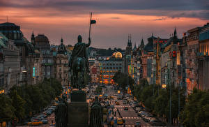 Pictures Prague Czech Republic Houses Monuments Evening Street Cities
