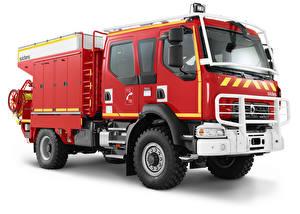 Tapety na pulpit Renault Samochód pożarniczy Na białym tle Czerwony  Samochody