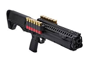 Picture Shotgun Closeup White background Kel-Tec KSG 12 gauge Army
