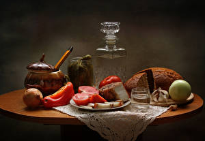Images Still-life Bread Tomatoes Onion Vodka Allium sativum Pepper Salo - Food Shot glass