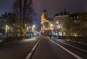 Wallpaper Strasbourg France Houses Street Street lights Fence Night time Cities