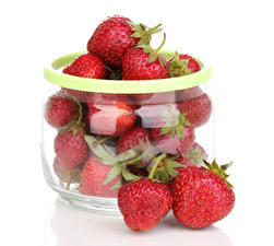 Wallpaper Strawberry White background Jar Food