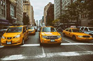 Sfondi desktop Taxi - Auto Stati uniti New York Manhattan Via della città Città Auto