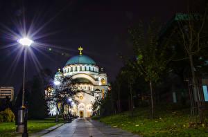 Images Temples Church Belgrade Serbia Night time Street lights Hram Svetog Save Cities