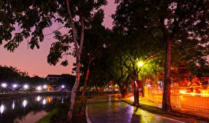 壁纸、、タイ王国、公園、川、木、夜、街灯、歩道、Nonthaburi、自然
