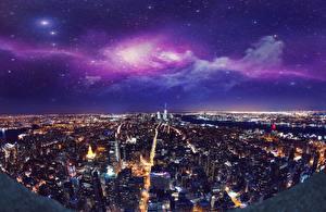 Hintergrundbilder Vereinigte Staaten Haus New York City Nacht Megalopolis Von oben Städte